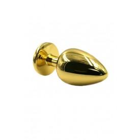 Золотистая алюминиевая анальная пробка с жёлтым кристаллом - 6 см.