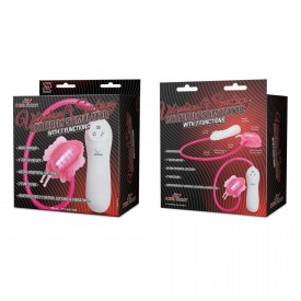 Розовая клиторальная помпа-бабочка с 7 функциями вибрации
