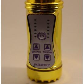 Золотистый вибратор с 24 видами вибрации и ротации - 21 см.